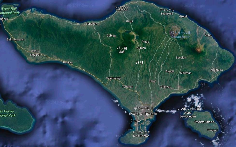 バリ島アグン山噴火の被害予想図|火山噴火場所をマップで確認